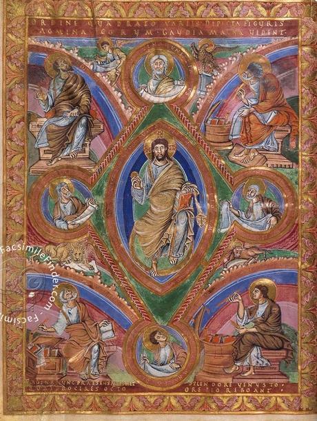 codex-aureus-de-saint-emmeran 870 ca Christ en majestel Munich, Bayerische Staatsbibliothek
