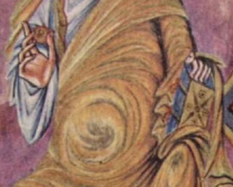 Christ en majeste 844-851 Premiere Bible de Charles le Chauve, BNF fol 329v detail