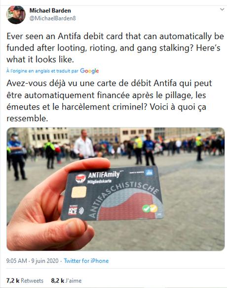 #Antifascist card, really ? (j'la veux ! ;) #fakenews #NoMoreTrump #Qanon