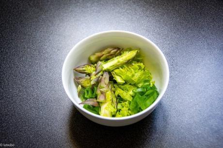 Les pâtes du weekend – Fregola aux asperges vertes et aux courgettes