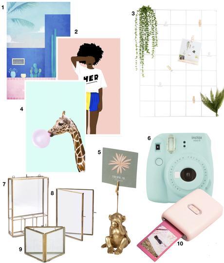 cadeau fille photo polaroid imprimante affiche summer californie rose bleu pastel