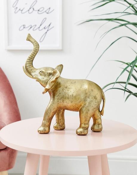 blog déco asos statue éléphant dorée table ronde rose pastel clemaroundthecorner