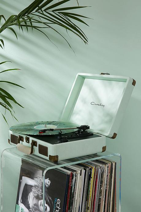 platine vinyle vert menthe déco rétro plante verte table verre cadeau fille ado