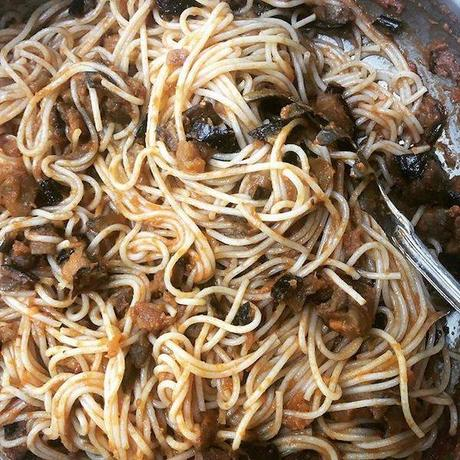 spaghetti aux aubergines rôties