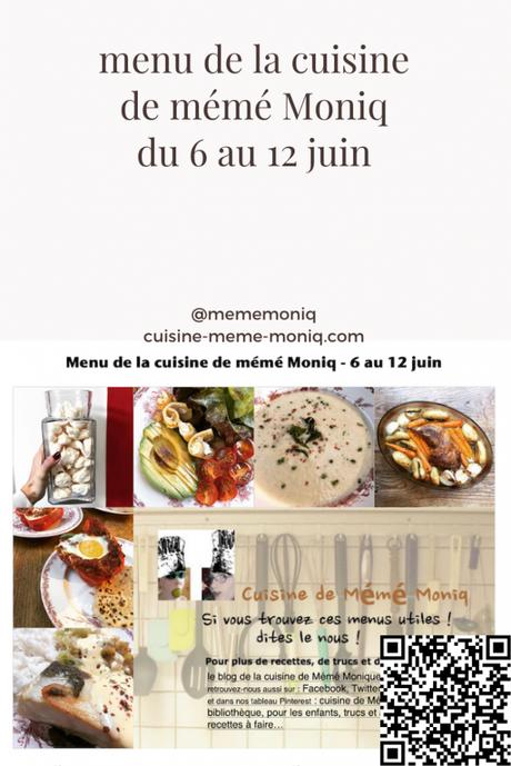 menus de la semaine du 6 au 12 juin