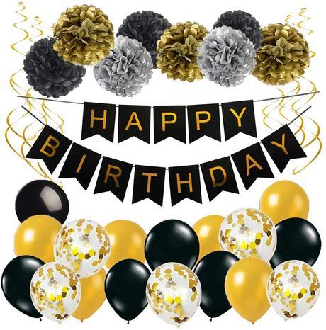 decoration anniversaire noir et or
