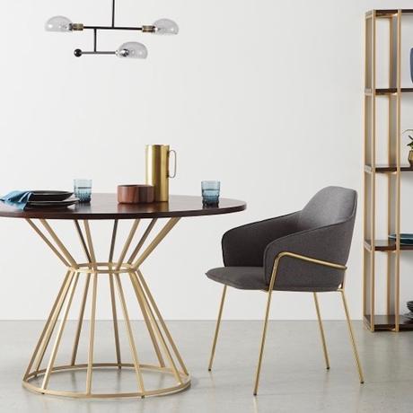 salle à manger design chaise laiton - blog déco - clematc