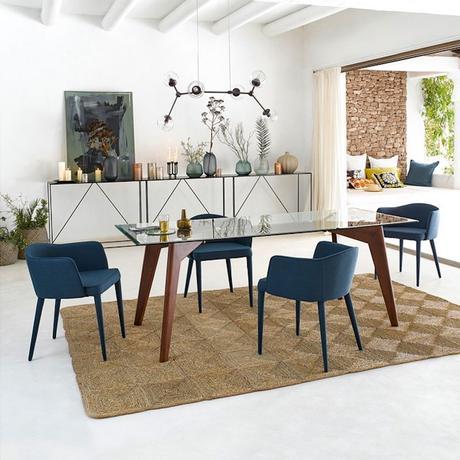 table rectangulaire verre et bois noyé kristal salle à manger - blog déco - clematc