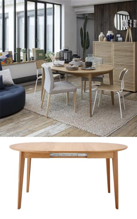 table ronde compact bois extensible rallonge integrée idéal studio petit espace