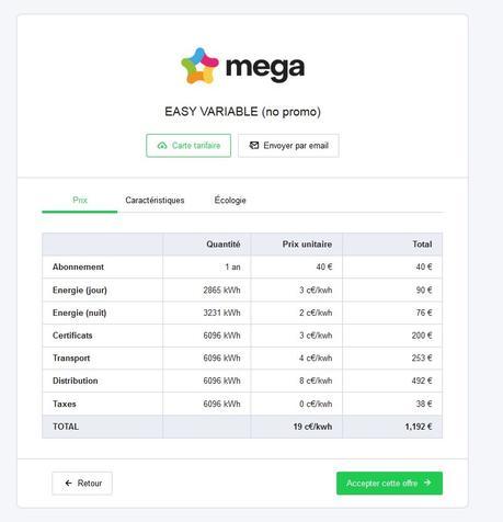 Quelle différence entre l'offre de MEGA et celle en promo d'EDF ?