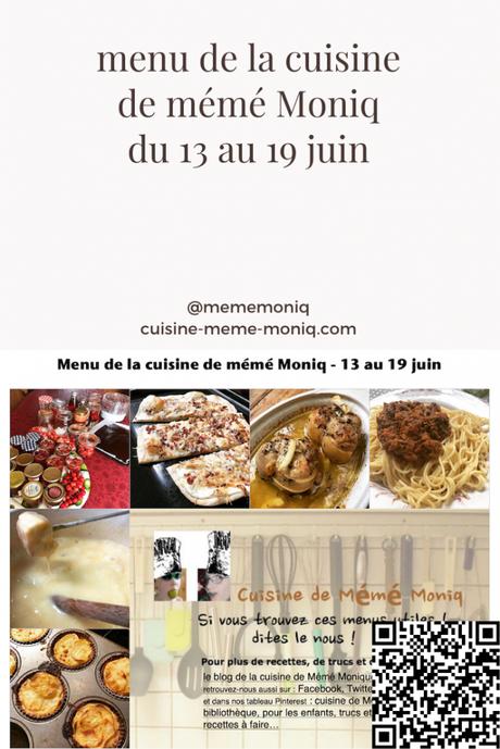 menus de la semaine du 13 au 19 juin