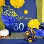 decoration anniversaire bleu et or