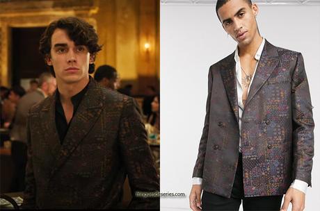 13 REASONS WHY : Winston's maroon jacquard print blazer in S4E09