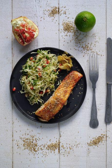 saumon cuit au four , saumon de France , salade de chou