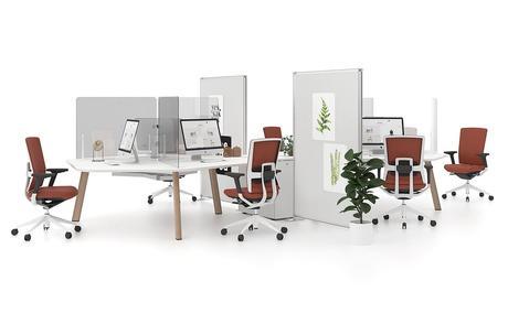 espace travail open space bureau agencement covid pandemie sécurité virus bien-être ilot cloison transparente