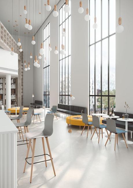 cantine entreprise covid chaise design cafeteria société siège moderne architecture