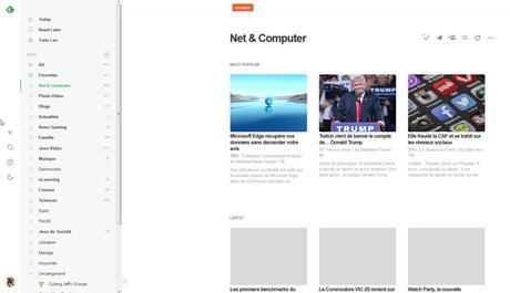 Feedly, successeur de Google Read. L'information récente laisse parfois peu de visibilité aux sites qui proposent des contenus moins régulièrement.