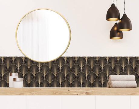 fresque papier peint art déco marron taupe doré inspiration salle de bain