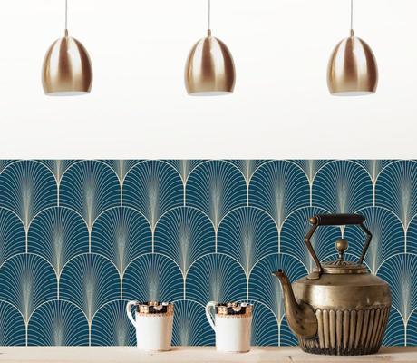 fresque papier peint art déco bleu doré inspiration cuisine