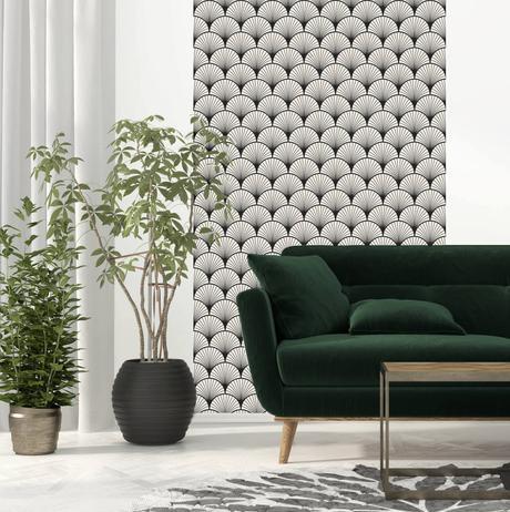 salon élégant plante verte canapé velours esprit zen art déco