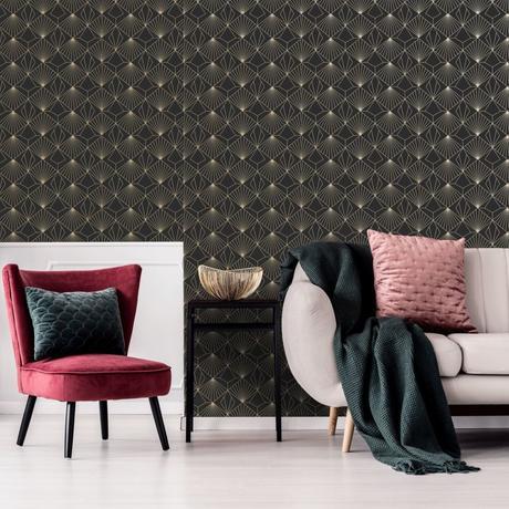 salon rétro contemporain tendance velours laiton mur art déco noir doré