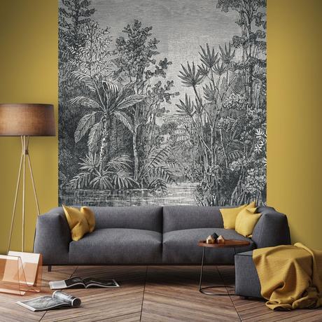 salon vintage papier peint repositionnable gris urban jungle jaune moutarde parquet en bois lamé