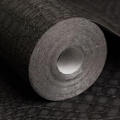 papier peint repositionnable intissé vinyle imitation peau de crocodile noir idée déco intérieure