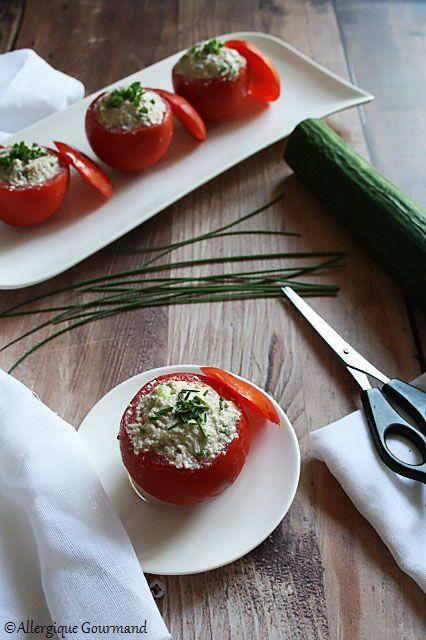 Tomates farcies à la crème de courge-concombre { sans gluten, sans lait, sans œufs }