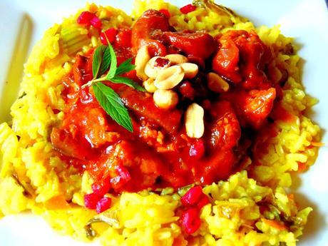 Riz et ragoût de champignons et seitan d'inspiration africaine