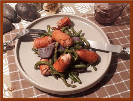 Poêlée de pommes de terre, haricots verts et saucisse de Strasbourg