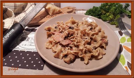Pâtes aux champignons et bacon