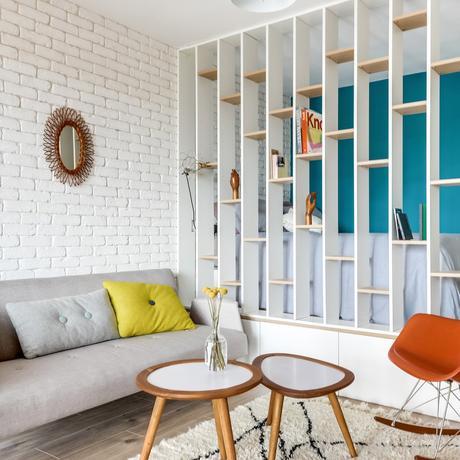 studio étudiant 25m2 salon chambre cloison médiathèque mur turquoise scandi new yorkais blog déco