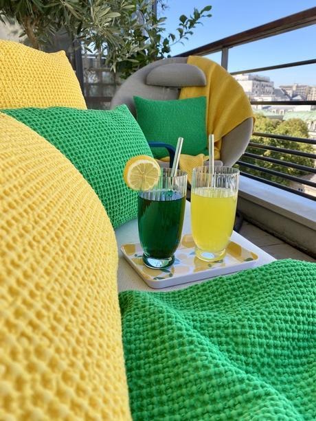 idée déco terrasse colorée verte jaune bleue Vivaraise - blog clem around the corner