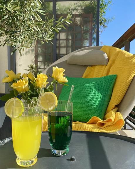 terrasse colorée jaune vert pomme citron coussin coton made in France fauteuil Lafuma