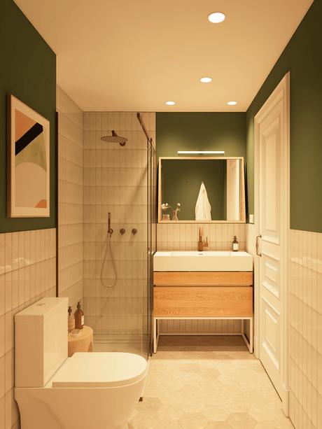 salle de douche aménagement personne agée décoration bois vert kaki moderne