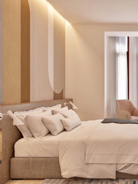 chambre tête de lit bois papier peint années 70s appartement senior Barcelone