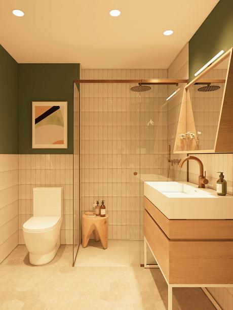 salle de bain résidence appartement pour senior à Barcelone blanche kaki