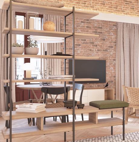 bibliothèque bois métal séparation deux pièces cuisine ouverte studio étudiant