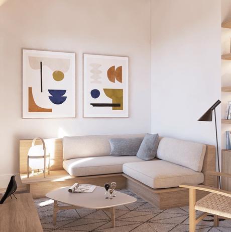 appartement pour senior à Barcelone Espagne canapé angle bois design