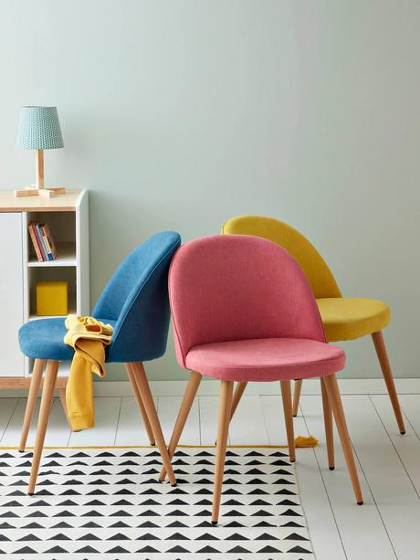 chaise fauteuil bureau scandinave rose jaune bleu enfant pied bois tissu