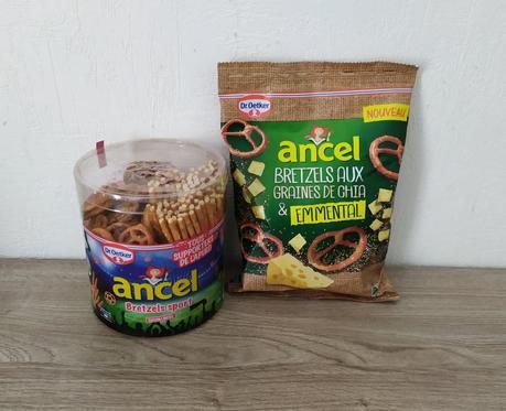 1 boîte de Bretzels Tubo Sport Ancel et un 1 paquet de Bretzel emmental et graines de chia Ancel