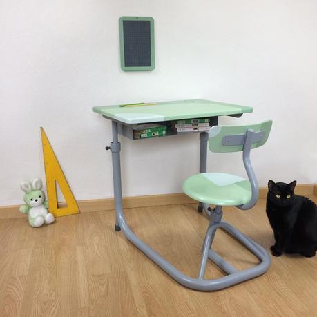 bureau écolier relooké vert mint menthe à l'eau chat noir chambre enfant vintage - blog déco - clem around the corner