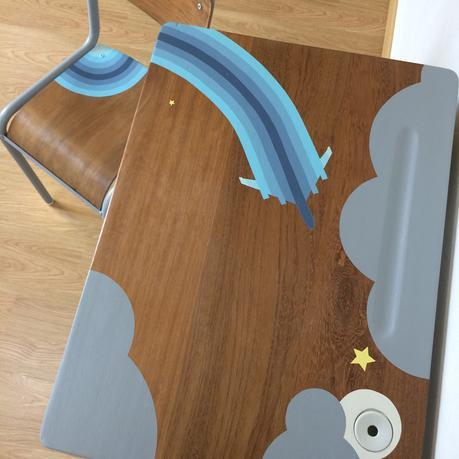 bureau écolier relooké bois marron foncé peinture - blog déco clem around the corner