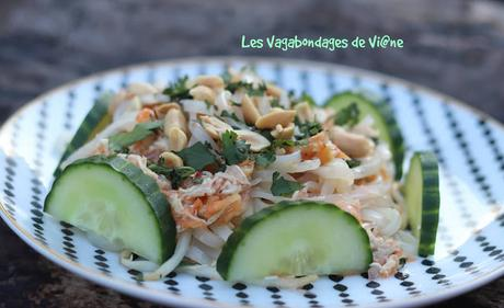 Salade de nouilles de riz, poulet et pomelo