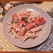 Macaroni aux champignons et saucisses de Strasbourg - Oh, la gourmande..