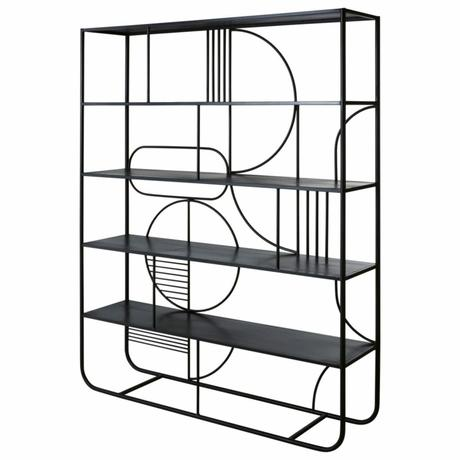 meuble métal noir graphique contemporain rangement livre salon suite parentale déco intérieure