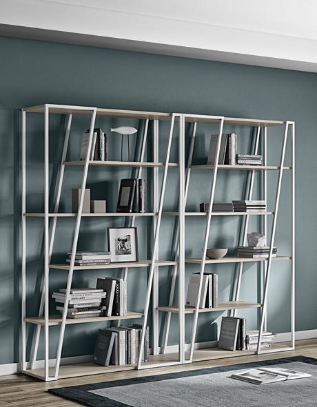 bibliothèque bois blanc déco intérieure sobre design contemporain