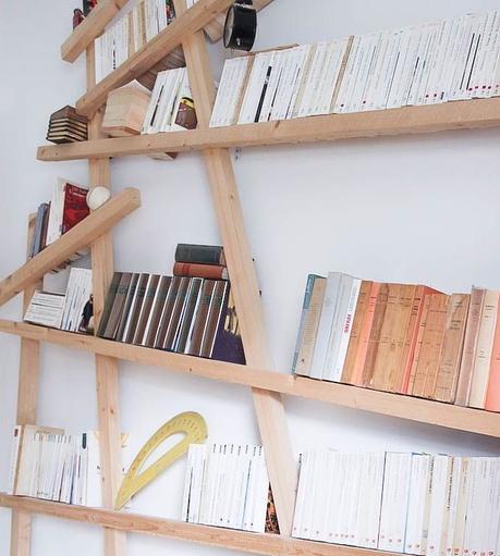 bibliothèque bois mikado rangement livre idée déco maison