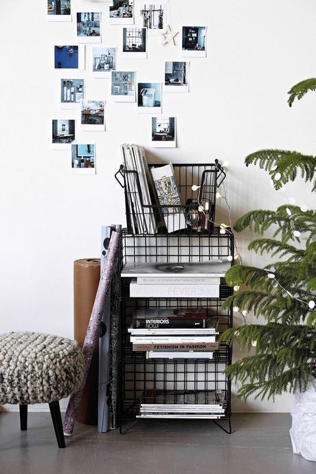 étagère caisse métal noir style bohème cosy guirlande lumineuse plante verte