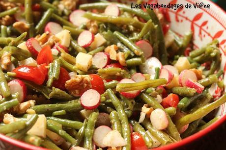 Salade de haricots verts, radis et comté